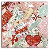 Toga FPD93 A la Folie - Set di 46 forme ritagliate in carta, 8,5 x 15,5 x 1 cm, colore: Rosso/Beige/Rosa/Blu