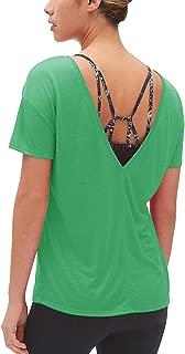 Muzniuer Women's Short Sleeve V Neck Shirts Open Active Yoga Shirts Backless Casual Basic Tee Tops