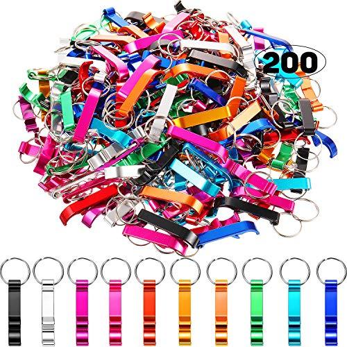 200 Pieces Aluminum Bottle Openers Novel Bottle Openers Keychain Bulk Beer Bottle Opener Wedding Favors Brewery Hotel Restaurant 10 Color