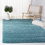 SAFAVIEH Milan Shag Collection SG180 Solid Non-Shedding Living Room Bedroom Dining Room Entryway Plush 2-inch Thick Area Rug, 3' x 5', Aqua Blue