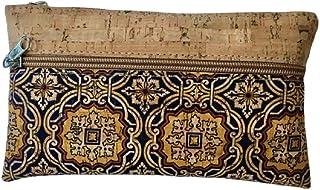 Kaibe Cartera de mano de corcho, bolso de mano de corcho con diferentes estampados (azul marino amarillo)