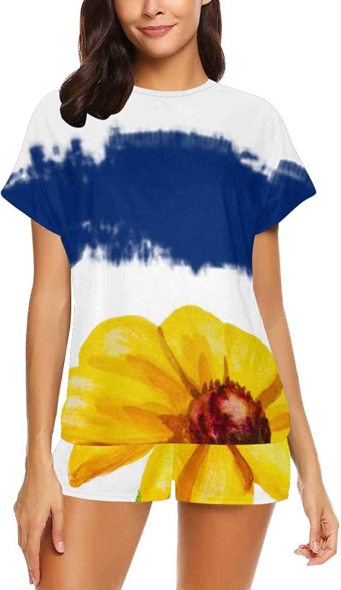 InterestPrint Daisies on Striped Background Women's Pajama Sets Short Sleeve Shorts - Pajamas for Women