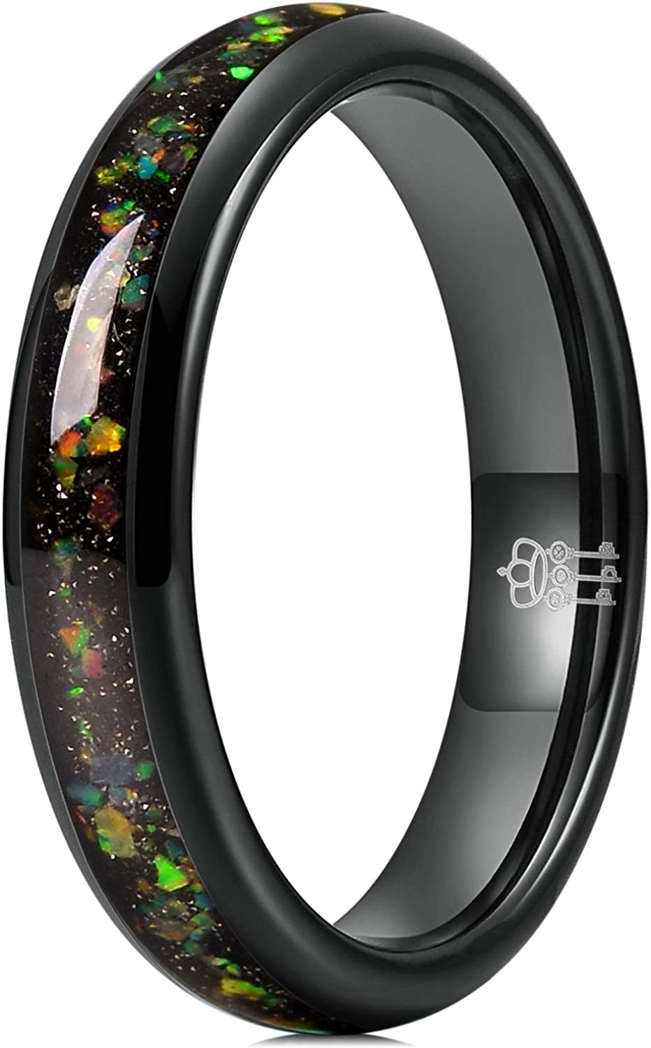 THREE KEYS JEWELRY Mens Womens 4mm 8mm Galaxy Collection Fire Created-opal Inlay Tungsten Wedding Rings Band