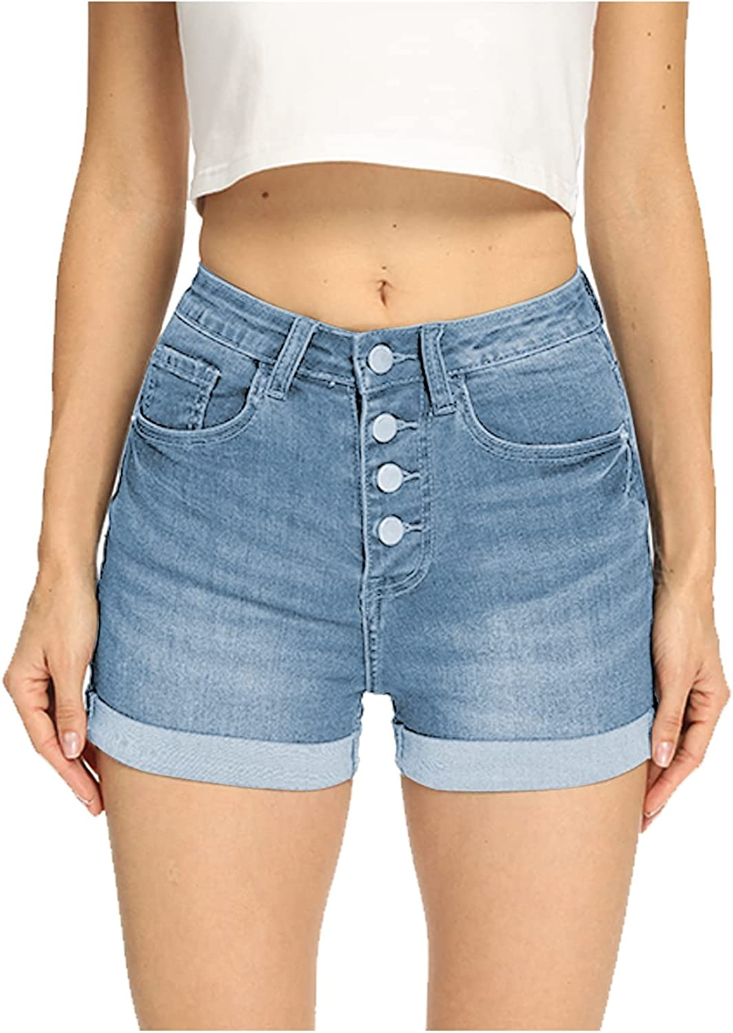 Denim Shorts for Women High Waisted Comfy Stretchy Ripped Jean Shorts (10, Light Blue # 5)