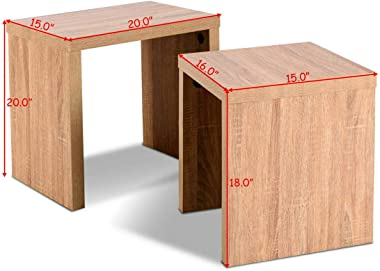 Set of 2 Nesting Coffee End Table Side Table Wood Color Living Room Furniture