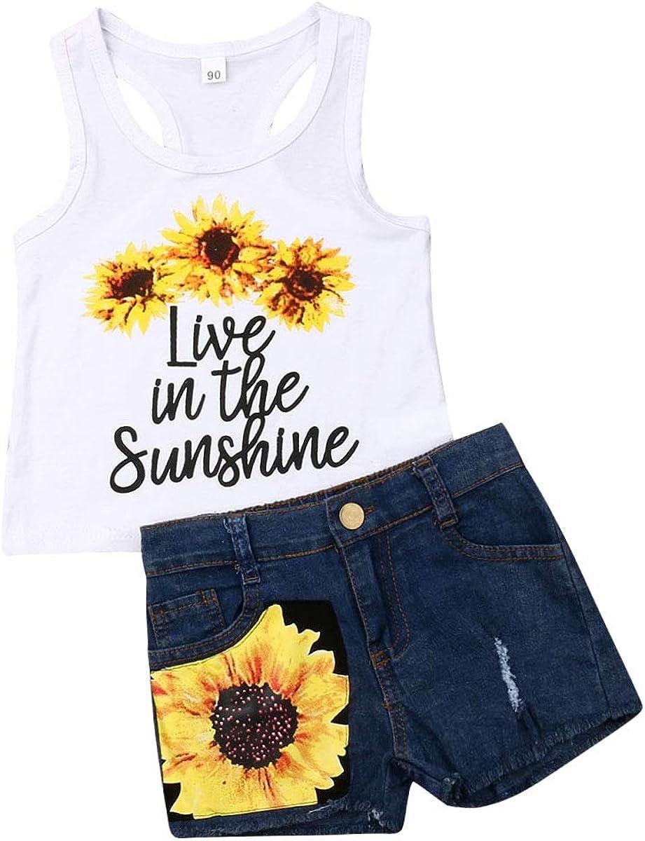 Baby Girls Award-winning 2021 new store Sunflower Sets Sleeveless Floral Vest Top Tank Letter
