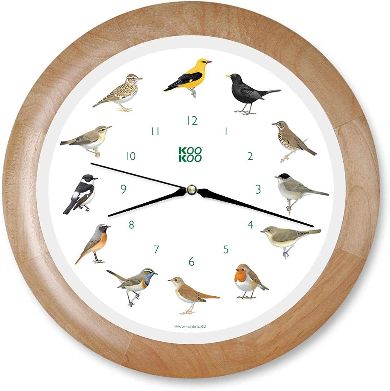 KOOKOO Singvgel Quarzwerk Holz, Die Singende Vogeluhr, ist eine Uhr mit 12 heimischen Singvgeln und echten, natürlichen Vogelstimmen, Wanduhr mit Lichtsensor