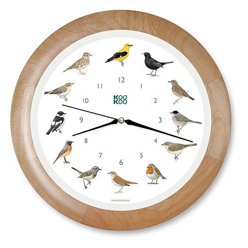 KOOKOO Singvögel Quartz Wood, Horloge des Oiseaux, Un Pendule Murale avec 12 Oiseaux indigènes et enregistrements de la Nature, Horloge avec senseur de lumière