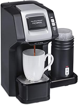 Hamilton Beach 49949 FlexBrew Single-Serve and Full Pot Coffee Maker, Compatible With K-Cup Pods and Grounds, Black With Frother