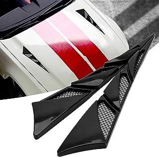 ZHOUMOLIN 1 زوج من ملصقات السيارة الخارجية غطاء السيارة أسود عالمي جانبي مدخل الهواء تدفق غطاء تنفيس ديكور السيارة تصميم ب...