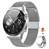 GaWear Smartwatch Uomo Orologio Fitness,Chiamata Bluetooth, Cardiofrequenzimetro da Polso, Activity Tracker Sportivi Contapassi Controllo Musica Cronometro per Android iOS(Argento)