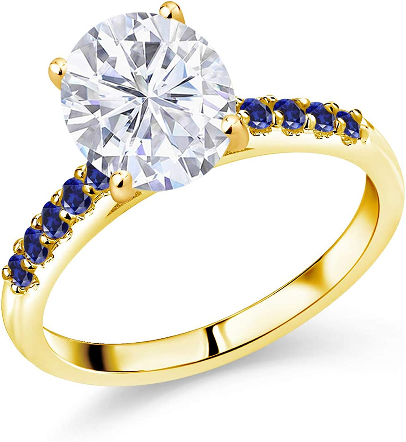 10K Max 69% OFF Yellow Gold Ring Set with Cr outlet 4.65cttw Forever GHI One Oval