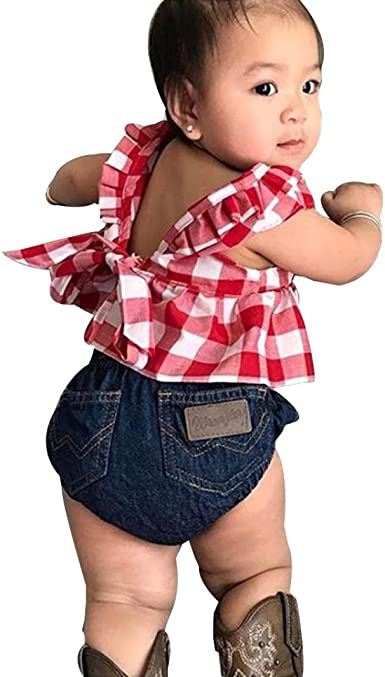 Yannerr 3PCS Bebé Cuadros Camisa+Denim Cortos Pantalones + ...