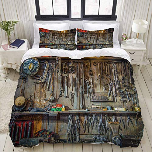 Yaoni Duvet Cover,Man Cave Vintage Tools Hanging On A Wall in A Tool Shed Workshop Fixing Equipment,Bedding Set Ultra Comfy Lightweight Microfiber Sets