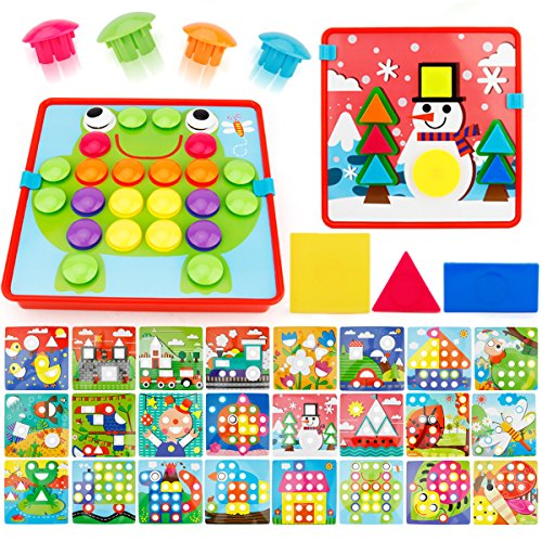 JoyGrow 2 in 1 Button Art Color Matching Mosaic Pegboard Set Toddler Toys Color amp Geometry Shape Cognition Skill Learning Educational Toys for Boys Girls 72 PCS Buttons and 24 templates