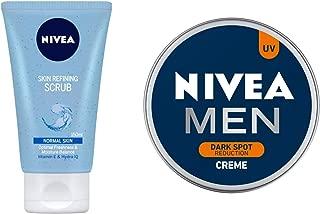 NIVEA Face Wash, Skin Refining Scrub With Vitamin E & Hydra HQ, 150ml and NIVEA MEN Cream, Dark Spot Reduction, 150ml