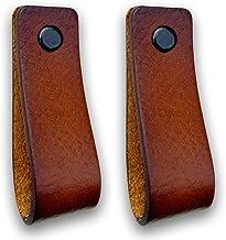 Brute Strength - Leren Handgrepen - Cognac - 2 stuks - 16,5 x 2,5 cm - incl. 3 kleuren schroeven per leren handvat voor ke...