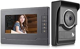 AMOCAM Video Door Phone System, 7 Inch Clear LCD Monitor Wired Video Intercom Doorbell Kits, Night Vision Camera Door Bell...