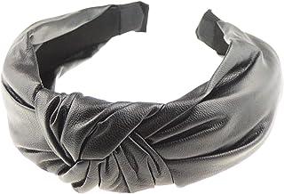Glamour Girlz, Diadema elegante con aspecto de piel para mujer, estilo retro, con nudo superior, color negro