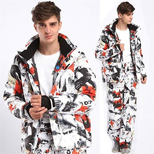 Skianzug New Männer Skianzug super warme Kleidung Ski Snowboard-Jacke + Hosenanzug windundurchlässige wasserdichte Winter tragen (Farbe : Rot, Size : XL)