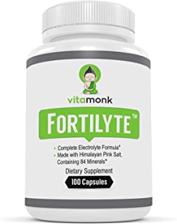 Fortilyte™ Electrolyte Supplement Capsules - Pink Himalayan Salt, Potassium, Magnesium, Sodium & Calcium Minerals - Keto Friendly Electrolytes - Supplements for Running - Pills Not Tablets