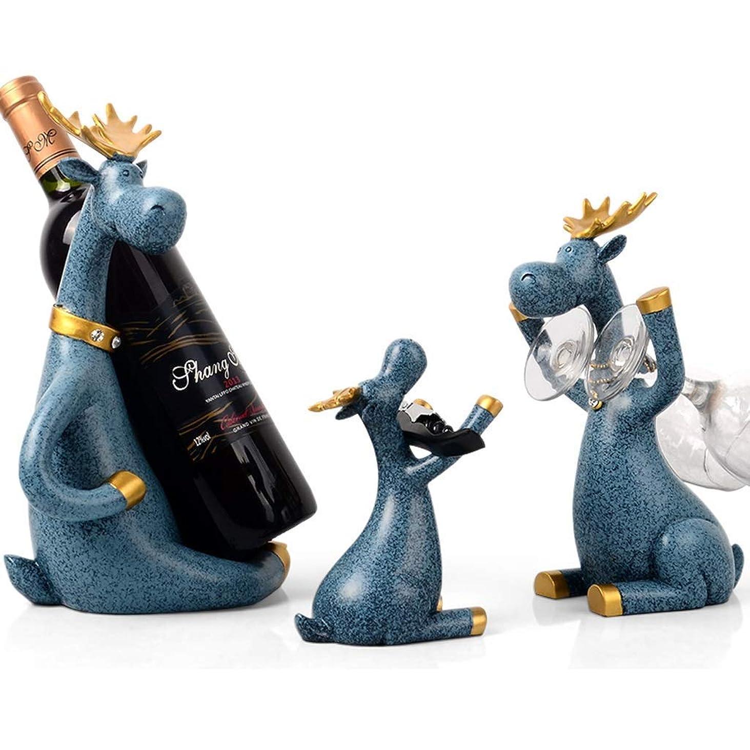ミット予測子ジャベスウィルソン自立型卓上ワインボトルとガラス脚付きグラスホルダー - ボトルストッパーのコルクオープナーホルダー、ワイン愛好家のための最高の贈り物、3個のワインアクセサリーセット、鹿の家族(色:A)
