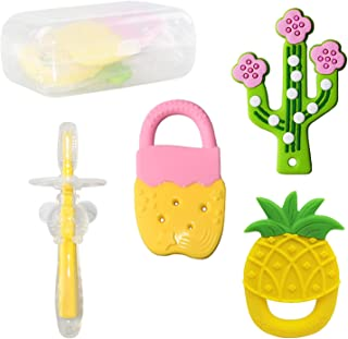 Baby Teether Toys 4PCS, Cactus Baby Teething Toy Baby...