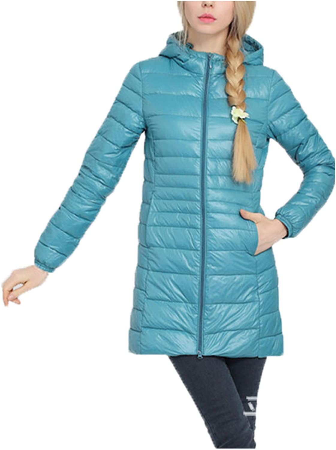 Cocoinsity Womens Quilted DownCoat Lightweight Jacket Padded Hooded Solid Parkas Coat Outwear