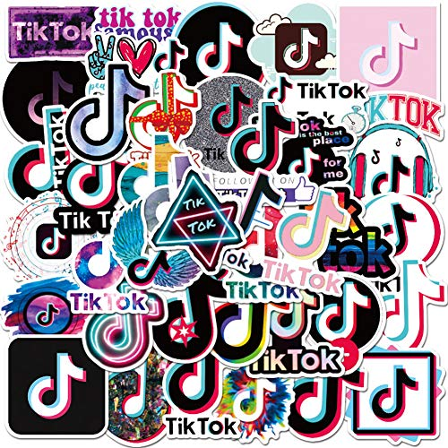 50 Pcs Pack Personalized Tiktok Hot Social Media Software Aesthetic Stickers Vinyl Colorful TIK Tok Waterproof Music Tictoc Sticker for Hydro Flask Water Bottles Guitar Party Treat Bags Food Decor