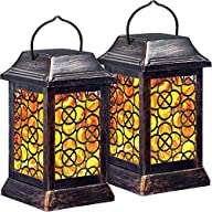 TomCare Solar Lights Metal Solar Lantern Flickering Flame Outdoor Hanging Lanterns Lighting Heavy Duty Waterproof Solar Powered LED Flame Umbrella Lights for Garden Patio Pathway Deck Yard, 2 Pack