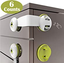 Baybee Baby Safety Locks for Drawers - Cabinet Locks Child Safety No Drill Drawer Latches Baby Proof Adhesive Lock Childproof Latch for Dresser, Fridge, Refrigerator, Freezer, Trash, Cupboard