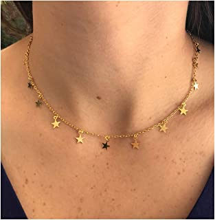 Gold Disc Beaded Pearl Star Necklace for Women Dainty Star Choker Necklaces Delicate Handmade Jewelry Gift