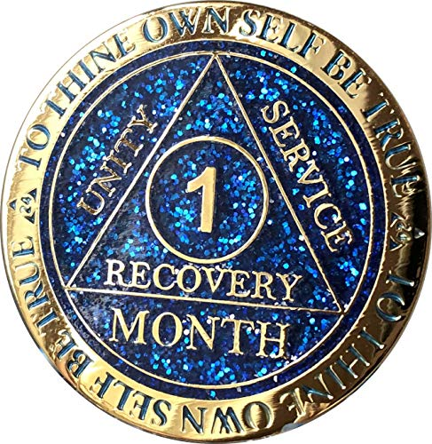 1 Month AA Medallion Reflex Blue Glitter and Gold Plated 30 Day Chip