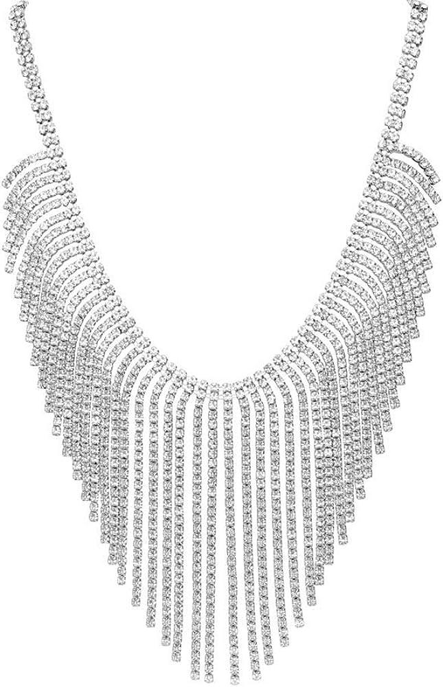 Stroili  collana per donna in metallo rodiato con multifili lunghi con strass 1668680