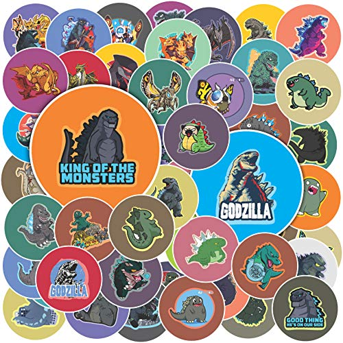 H2 Studio Godzilla Stickers, Circle Cute Stickers with Vibrant Color for Decorating Phone, Computer, Laptop Stickers, Hard Hat Stickers, Godzilla Party Supplies, Monster Stickers for Kids Toy
