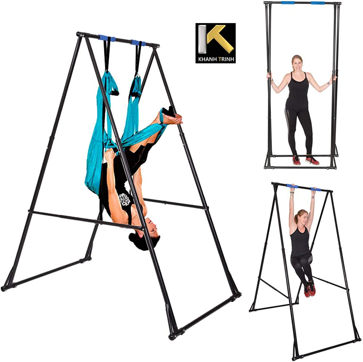 KT Indoor Outdoor Yoga Trapeze Stand Frame. Foldable, Portable, Height Adjustable Trapeze Yoga Swing Stand Frame. Stable and Durable Flying Yoga Frame Stand for Aerial Yoga