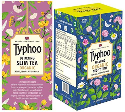 Typhoo Detoxing Organic Slim Tea Bags (20 Tea Bags) + Typhoo Relaxing Organic Night Time Tea Bags (20 Tea Bags)