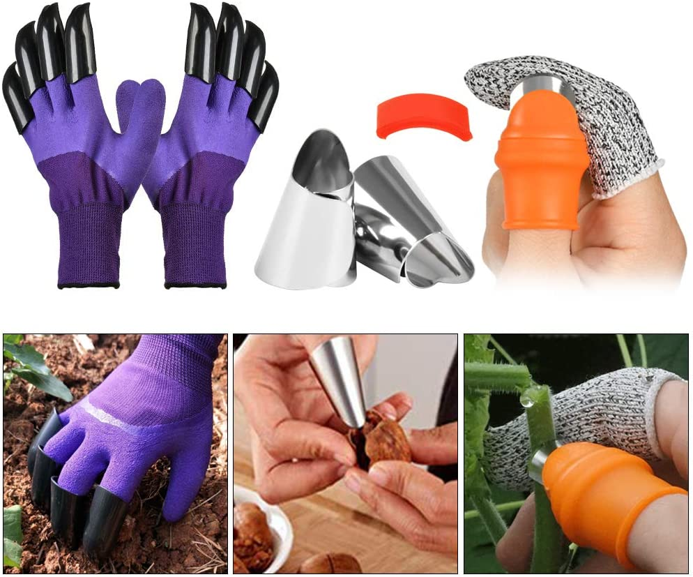 OFNMY Garden Genie Gloves with Garden Silicone Thumb Knife Harvesting Plant Knife Trim Garden Vegetable Picking Knife Gardening Gifts Garden Gloves with Claw for Digging Planting Rose Pruning