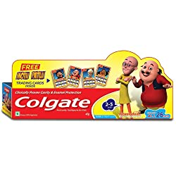 Colgate Toothpaste for Kids 2-5 Years - 40 g (Bubble Fruit) with Free Motu Patlu Trading Cards