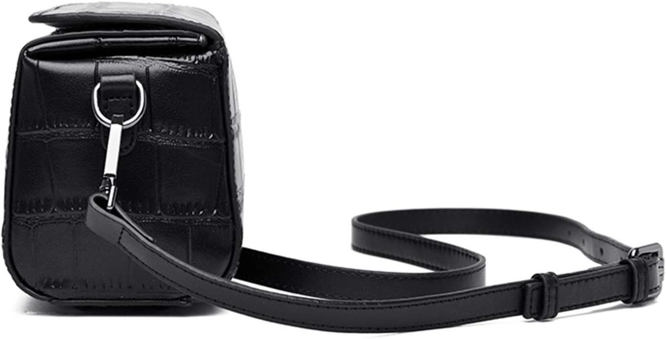 SUGUAN Nouveau Luxe Classique 100% Cuir Cuir Femme Sac à Main Mode Haute qualité bandoulière Sac à bandoulière Sac à Main (Couleur : Noir) Noir
