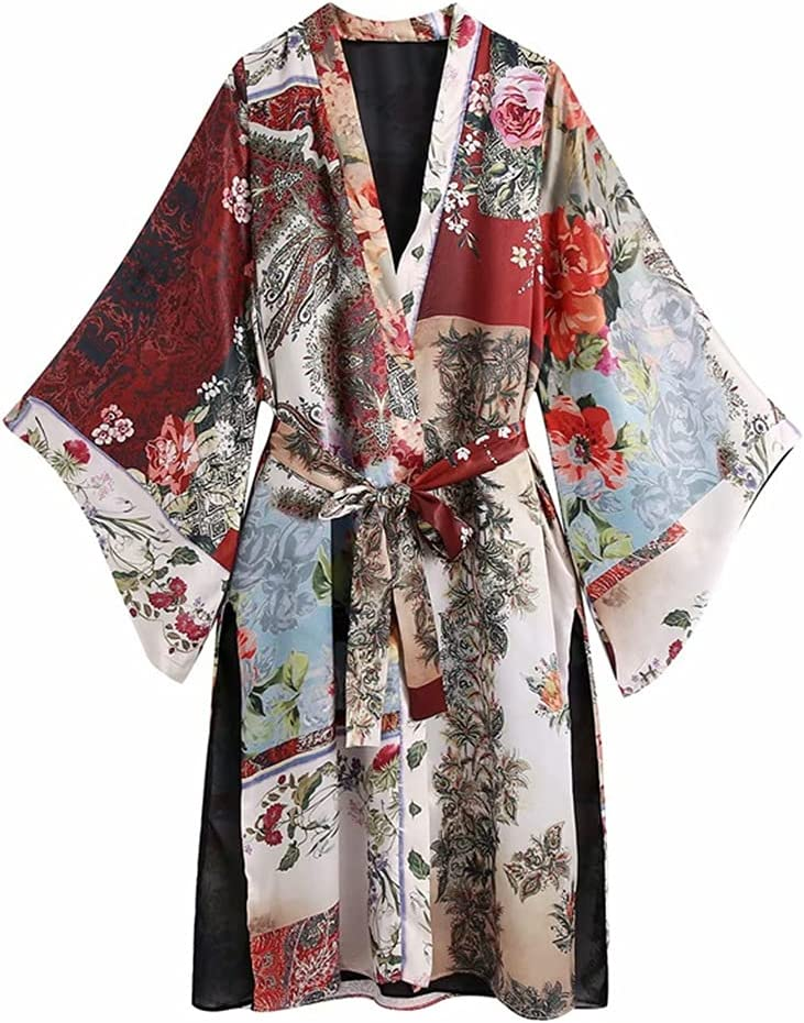 STRAW Max 83% OFF Women Fashion with Belt Sale special price Print Patchwork Blouses Kimono Vin