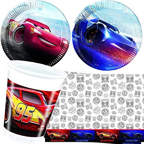 Procos/Carpeta 62-TLG. Party-Set * Cars Legend * mit Teller + Becher + Servietten + Tischdecke | Deko Kinder Geburtstag Motto Disney Rennauto Film Lightning McQueen
