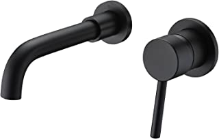 Sumerain Matte Black Wall Mount Faucet Bathroom Sink Faucet, Rough-in Valve Included