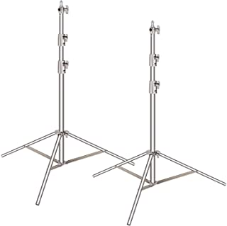 "Neewer 2 Pieces Light Stand Kit, 102""/260cm Stainless Steel Heavy Duty with 1/4"" to 3/8"" Adapter for Studio Softbox, Monol..."