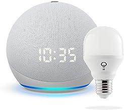 All-new Echo Dot with clock (4th Gen) - Glacier White - bundle with LIFX Smart Bulb (Wi-Fi)