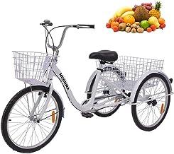24 inch volwassen driewielers serie, 7 versnellingen 3 wiel fietsen voor volwassen driewieler driewieler cruisefiets Grote...