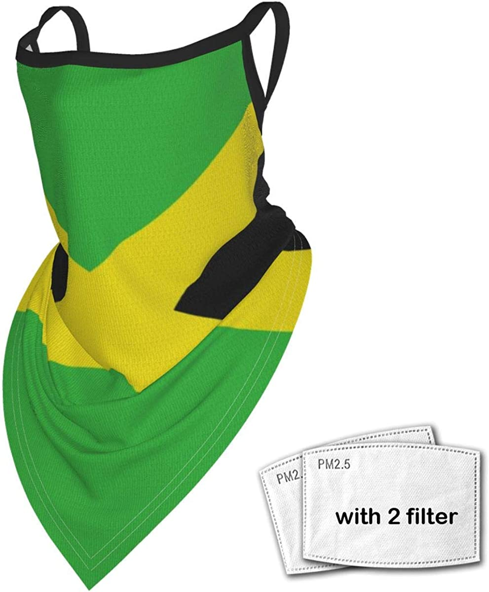 Jamaica Flag Jamaican Unisex Face Scarf Neck Gaiter With Ear Loops Balaclava Dust Cover Mask With Filter