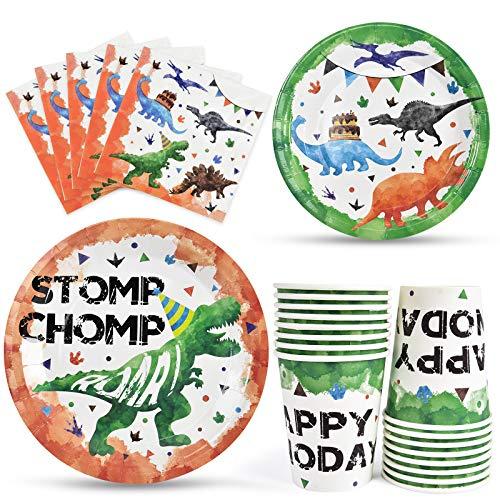 Productos para Fiestas de Dinosaurios - Vajilla Desechable para Fiestas de Dinosaurios para Niños Cumpleaños, incluye Almuerzo Cena Postre Platos Servilletas Vasos de Papel Sirve a 16 Invitados 64 PCS