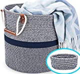 Blubinga Blanket Basket Living Room – Cotton Rope Storage Basket for Blankets Living Room...