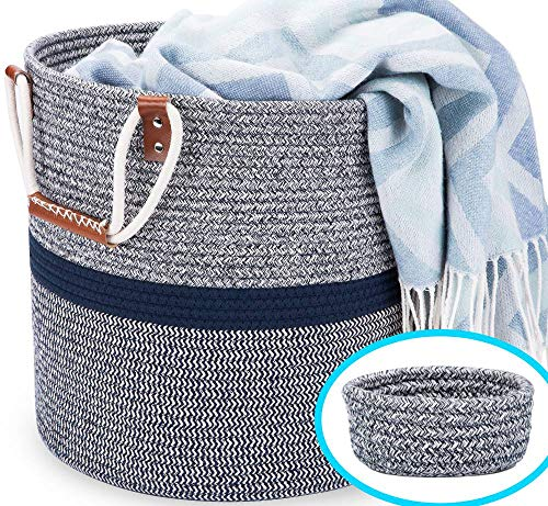 Blubinga Blanket Basket Living Room – Cotton Rope Storage Basket for Blankets Living Room Decorative Storage Baskets – Cotton Rope Basket for Blankets, Laundry, Toys, Pillows, Household Items